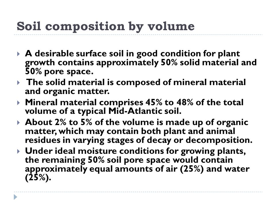 Soil composition by volume