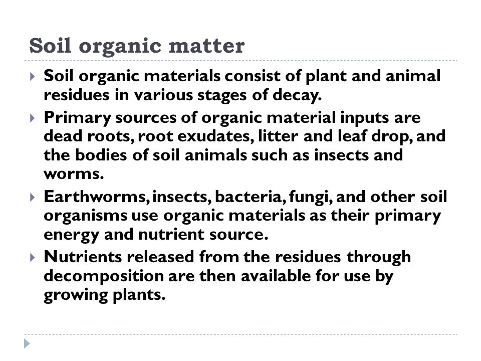 Soil organic matter Soil organic materials consist of plant and animal residues in various stages of decay.