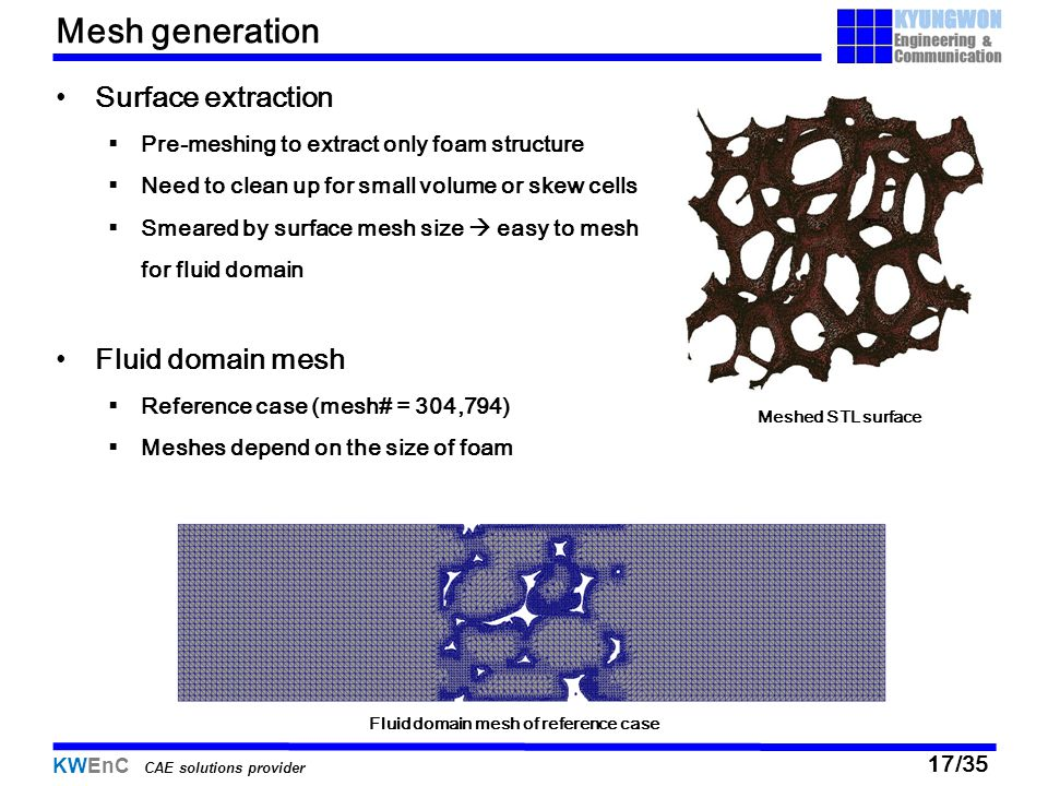 05/13/11 Mesh generation Surface extraction Fluid domain mesh