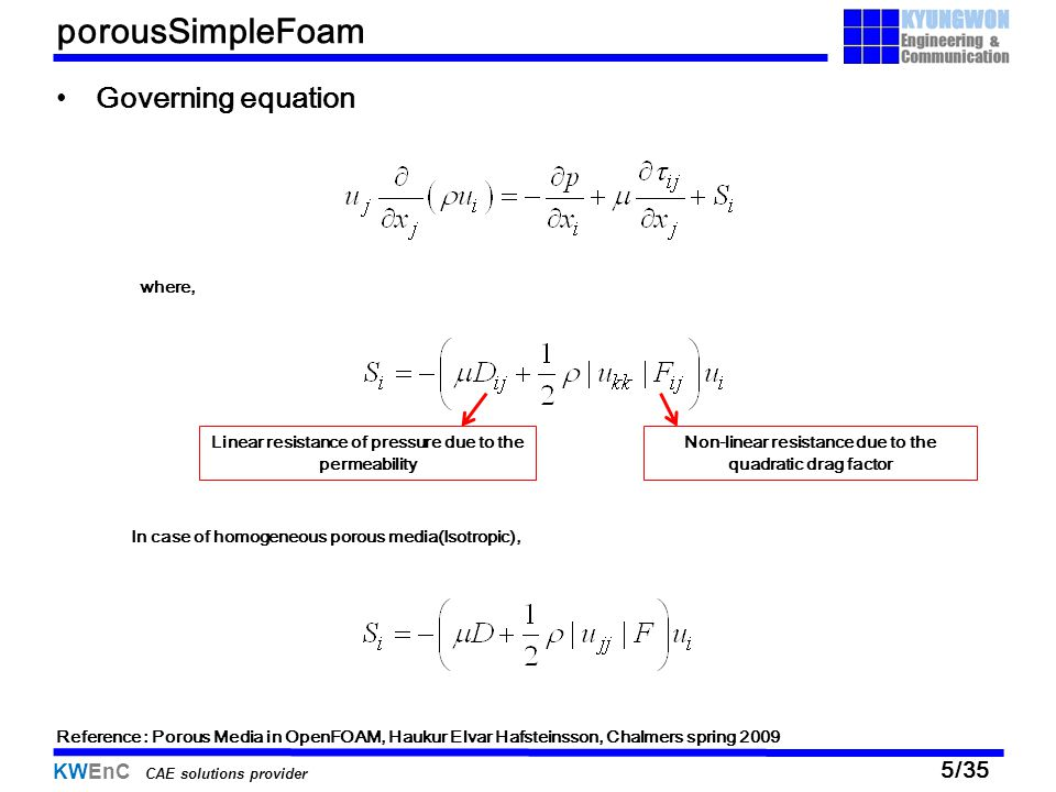 05/13/11 porousSimpleFoam Governing equation where,