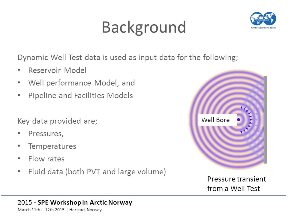 Background Dynamic Well Test data is used as input data for the following; Reservoir Model. Well performance Model, and.