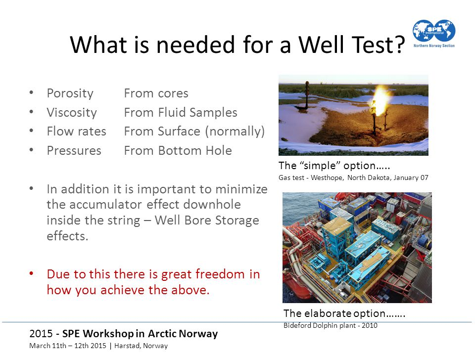 What is needed for a Well Test