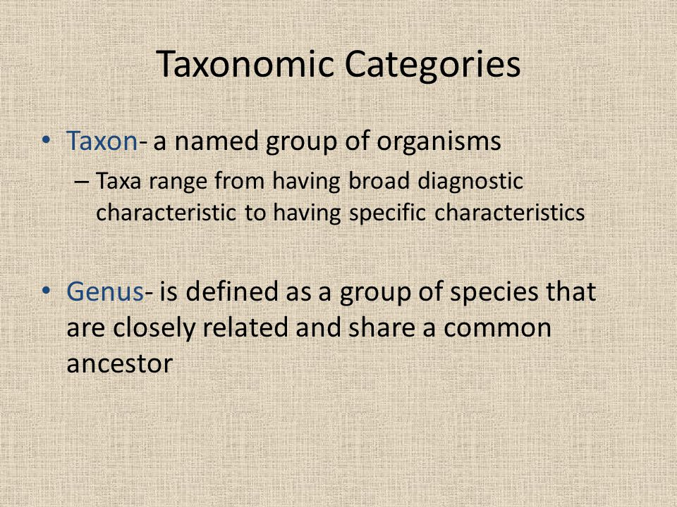 Taxonomic Categories Taxon- a named group of organisms