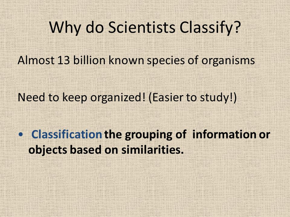 Why do Scientists Classify