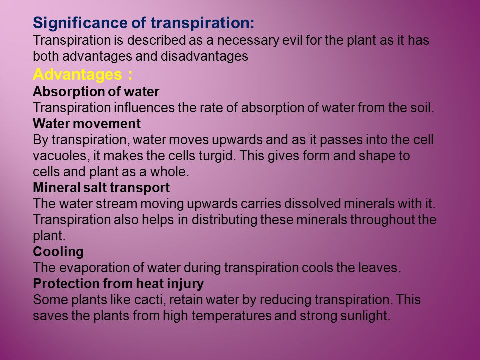 Significance of transpiration: