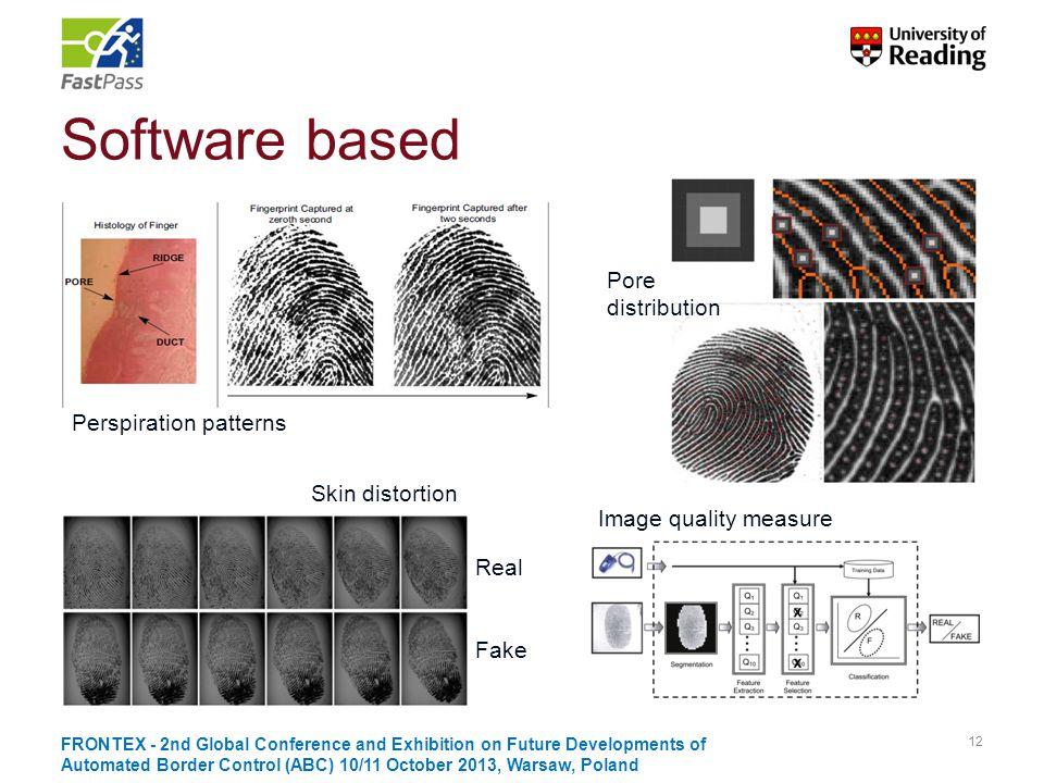 Software based Pore distribution Perspiration patterns Skin distortion