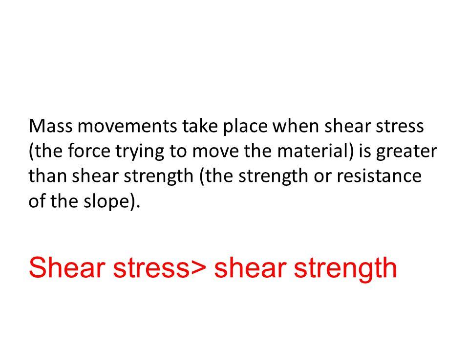 Shear stress> shear strength