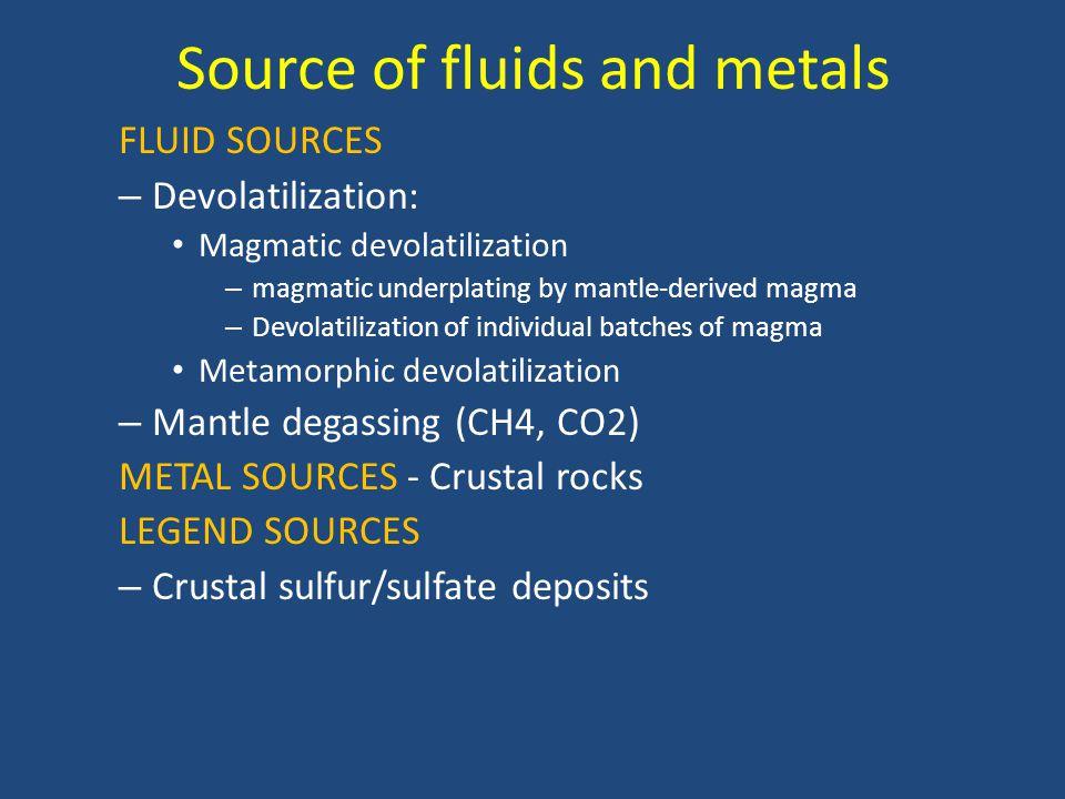 Source of fluids and metals