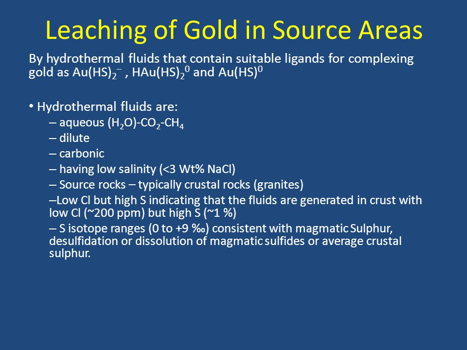 Leaching of Gold in Source Areas