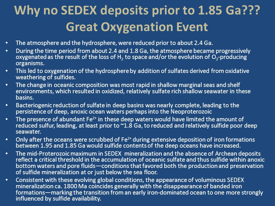 Why no SEDEX deposits prior to 1.85 Ga Great Oxygenation Event