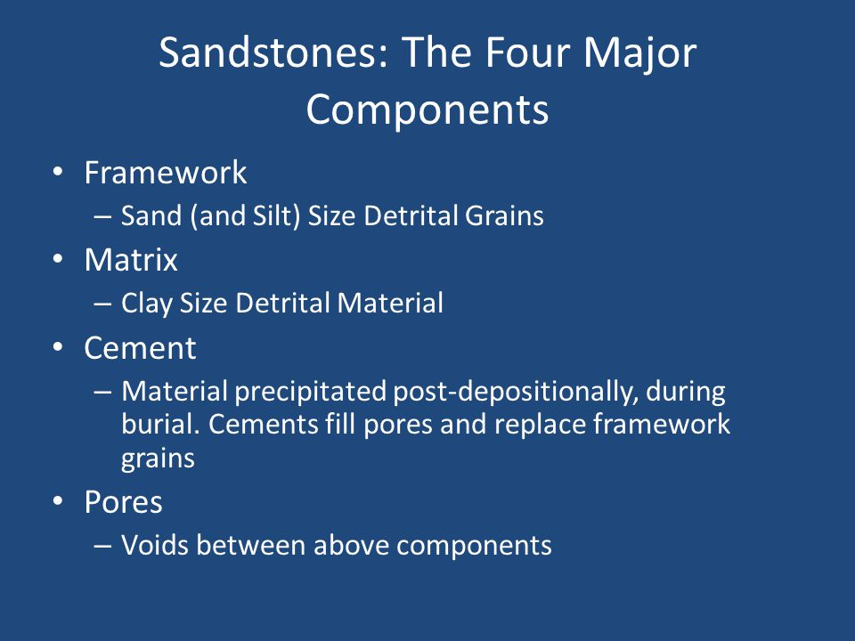 Sandstones: The Four Major Components