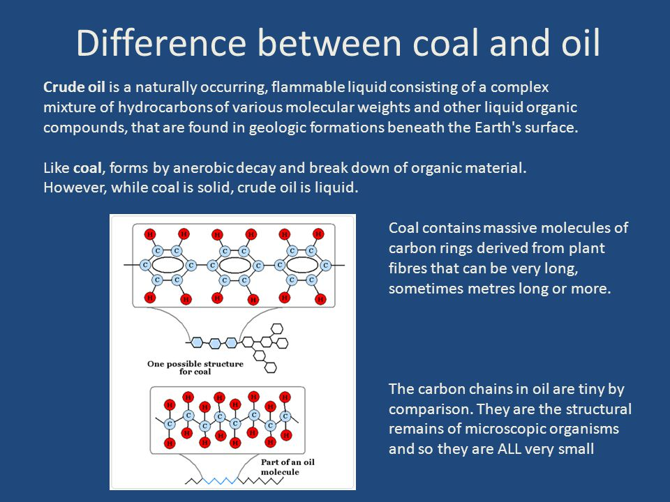 Difference between coal and oil