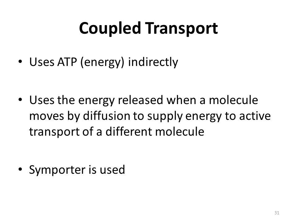 Coupled Transport Uses ATP (energy) indirectly