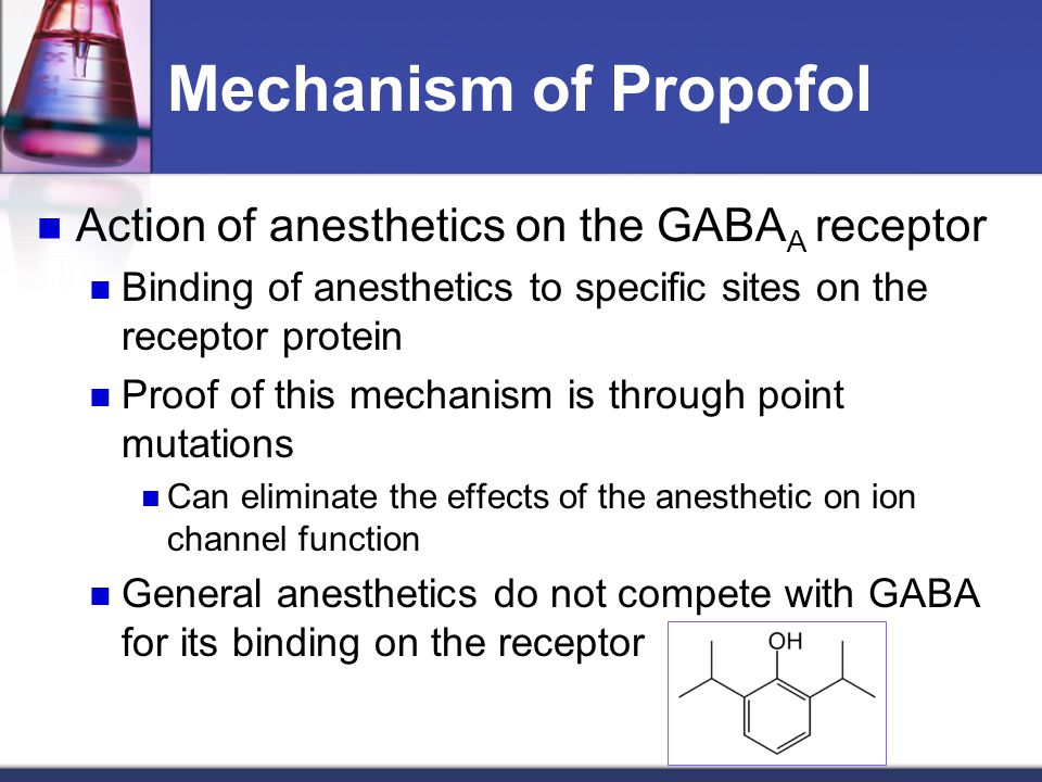 Mechanism of Propofol Action of anesthetics on the GABAA receptor