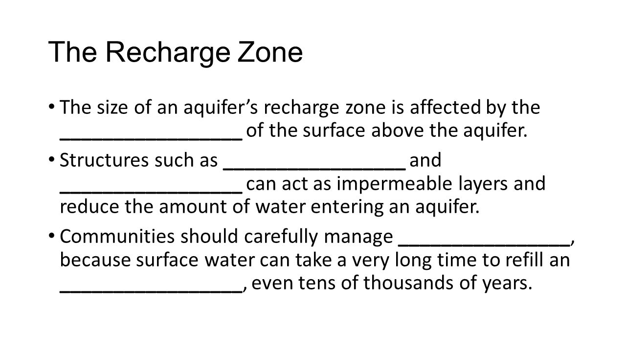 The Recharge Zone The size of an aquifer's recharge zone is affected by the _________________ of the surface above the aquifer.