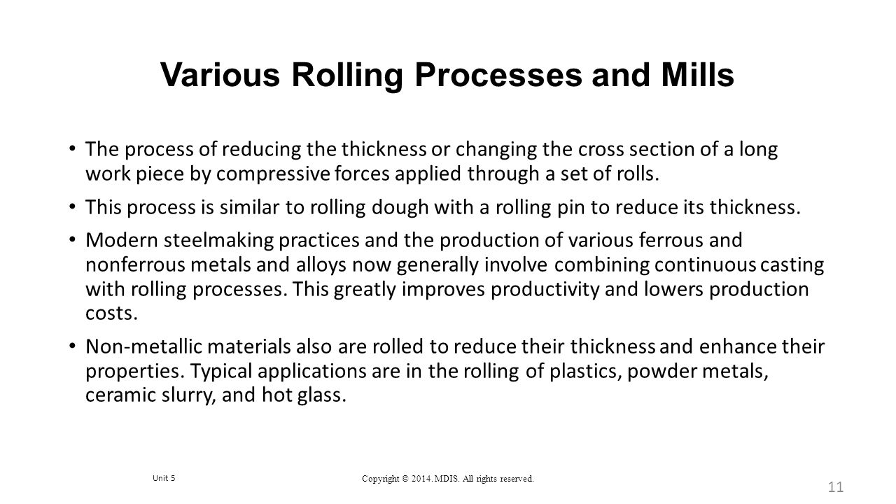 Various Rolling Processes and Mills