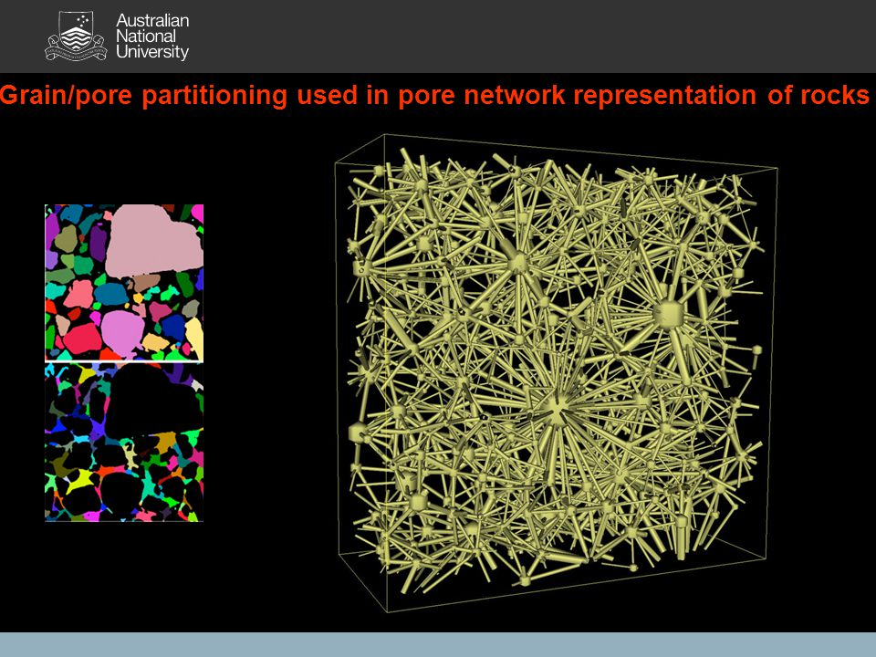 Grain/pore partitioning used in pore network representation of rocks