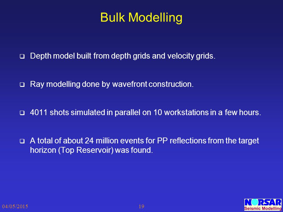 Bulk Modelling Depth model built from depth grids and velocity grids.