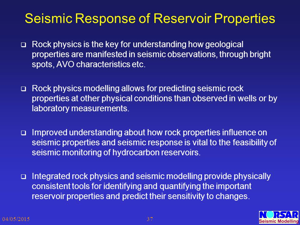 Seismic Response of Reservoir Properties