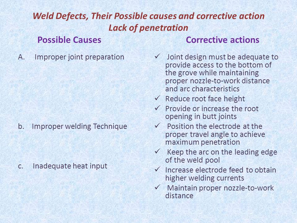 Weld Defects, Their Possible causes and corrective action Lack of penetration Possible Causes Corrective actions
