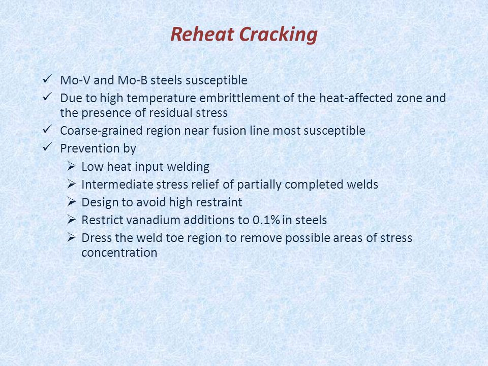 Reheat Cracking Mo-V and Mo-B steels susceptible