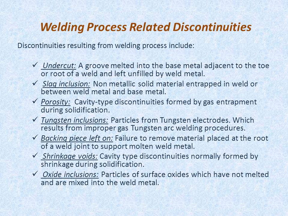 Welding Process Related Discontinuities