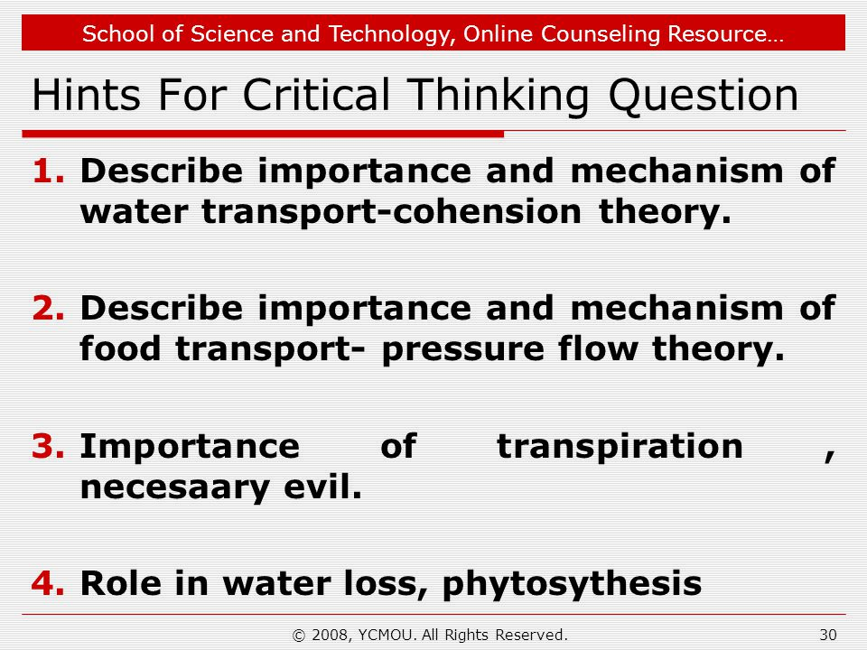 Hints For Critical Thinking Question