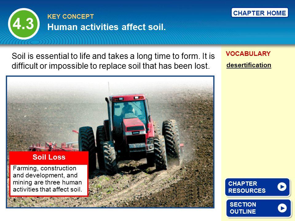 Human activities affect soil.