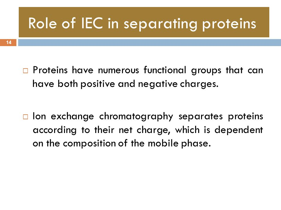 Role of IEC in separating proteins