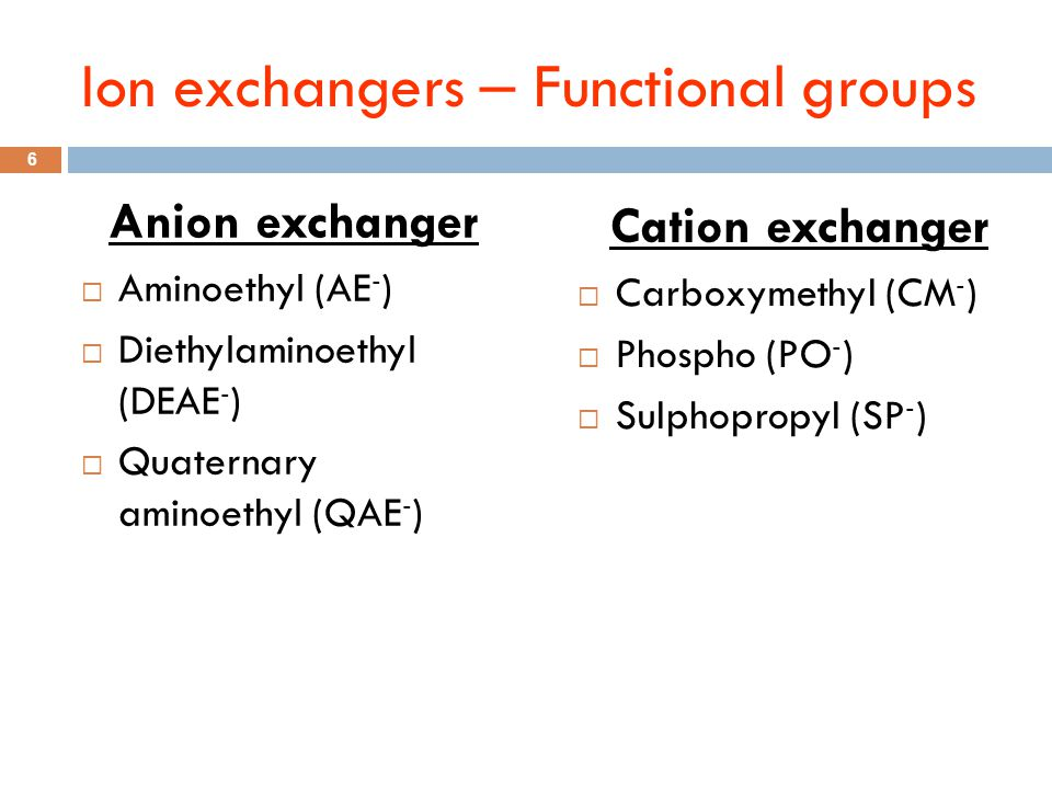 Ion exchangers – Functional groups