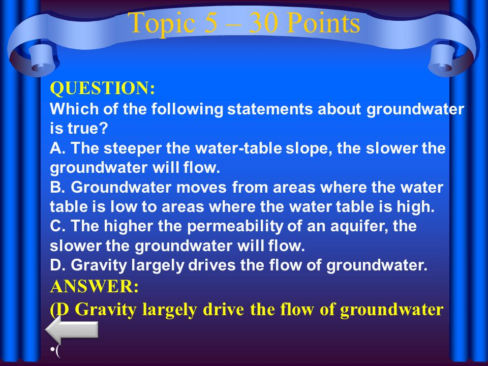 Topic 5 – 30 Points QUESTION: ANSWER: