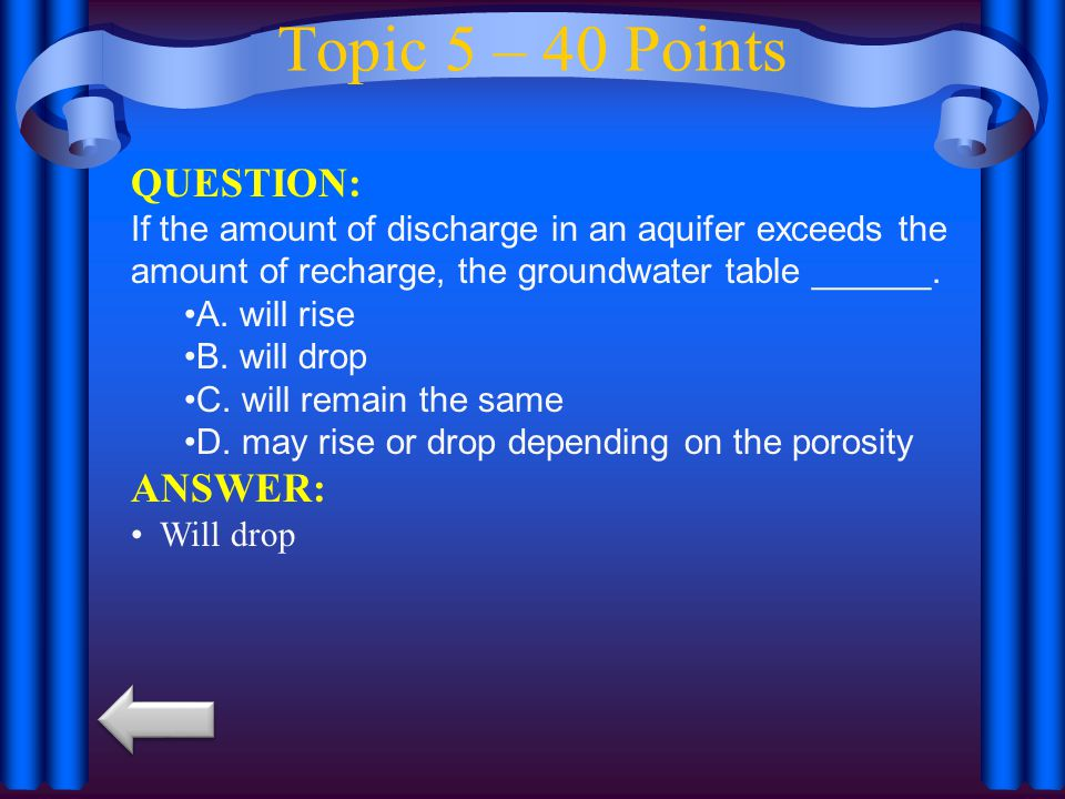 Topic 5 – 40 Points QUESTION: ANSWER: