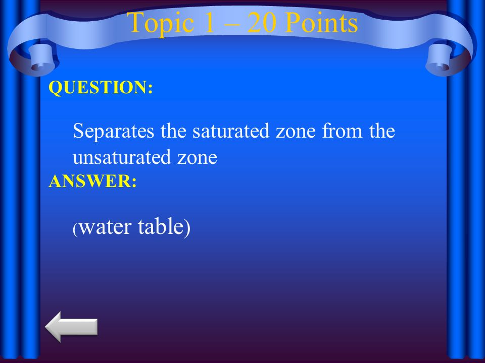 Topic 1 – 20 Points QUESTION: Separates the saturated zone from the unsaturated zone.