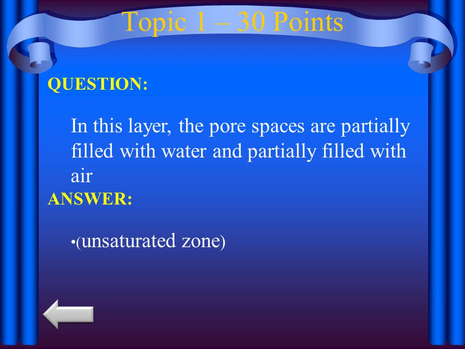 Topic 1 – 30 Points QUESTION: In this layer, the pore spaces are partially filled with water and partially filled with air.