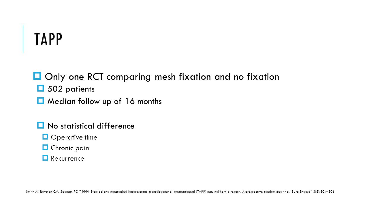 TAPP Only one RCT comparing mesh fixation and no fixation 502 patients