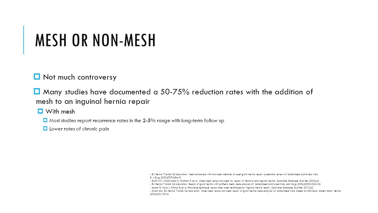 MESH OR NON-MESH Not much controversy