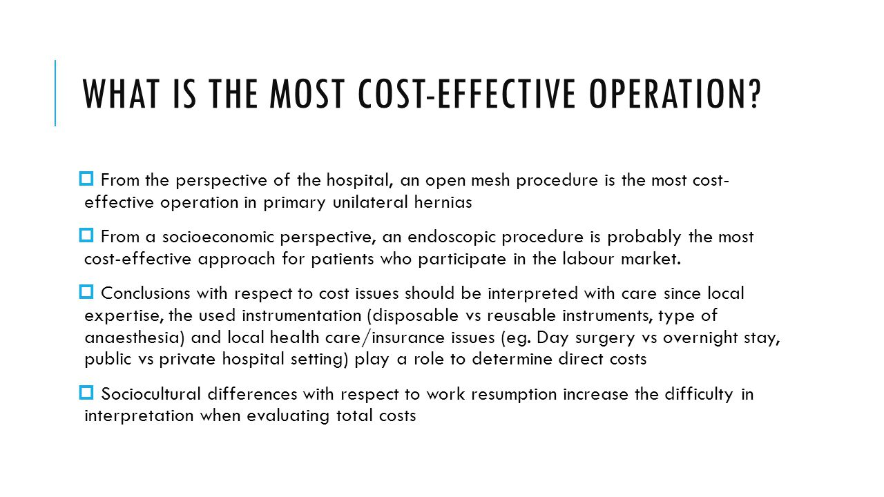 What is the most cost-effective operation