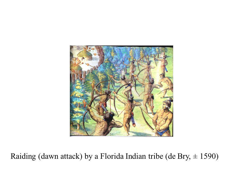 Raiding (dawn attack) by a Florida Indian tribe (de Bry, ± 1590)