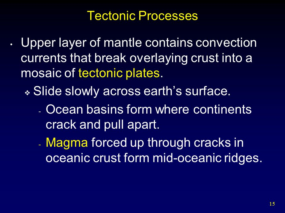 Tectonic Processes Upper layer of mantle contains convection currents that break overlaying crust into a mosaic of tectonic plates.