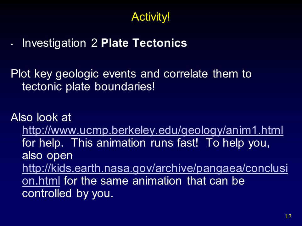 Activity! Investigation 2 Plate Tectonics. Plot key geologic events and correlate them to tectonic plate boundaries!