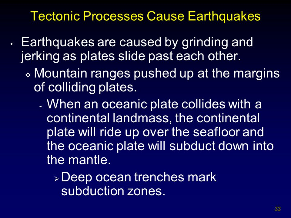 Tectonic Processes Cause Earthquakes