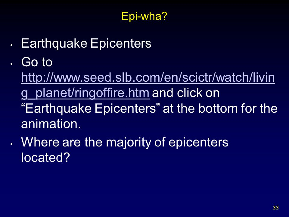 Earthquake Epicenters