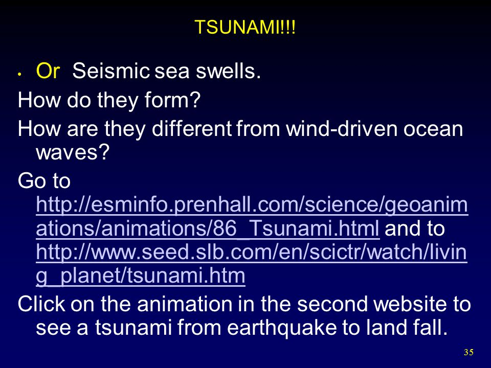 How are they different from wind-driven ocean waves