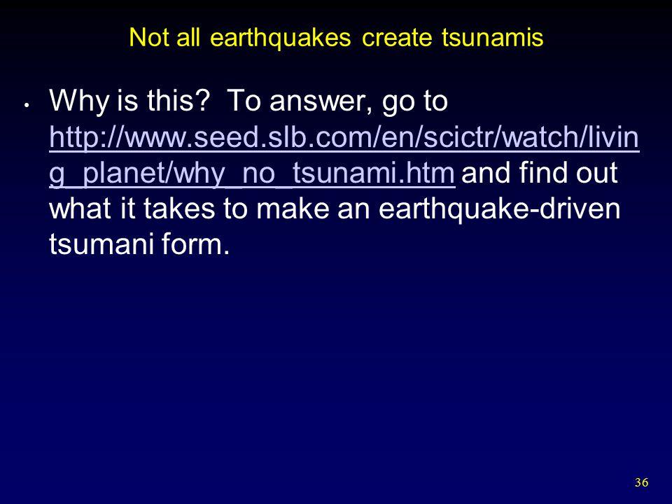 Not all earthquakes create tsunamis