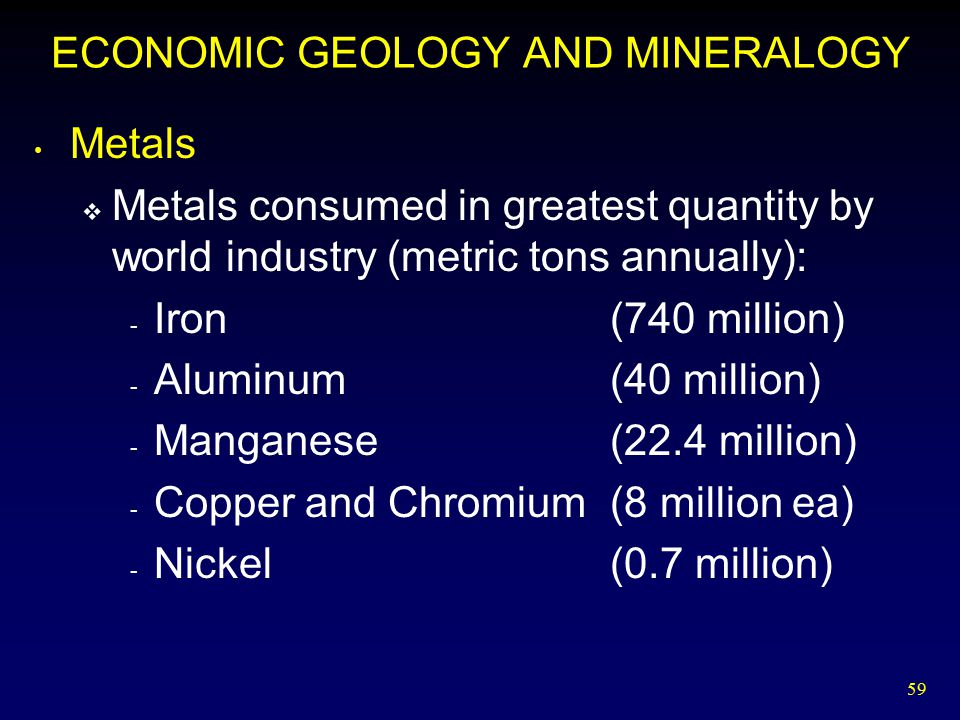 ECONOMIC GEOLOGY AND MINERALOGY