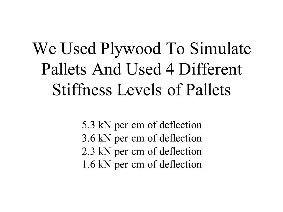 We Used Plywood To Simulate Pallets And Used 4 Different Stiffness Levels of Pallets