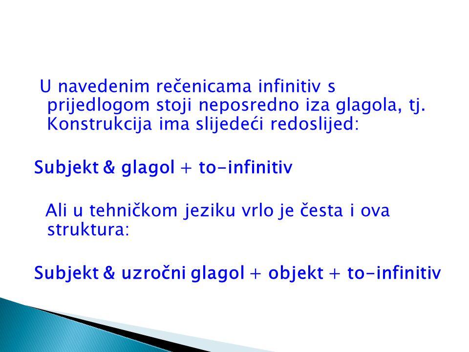U navedenim rečenicama infinitiv s prijedlogom stoji neposredno iza glagola, tj.