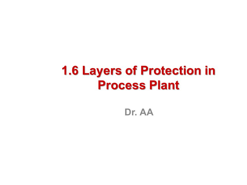 1.6 Layers of Protection in Process Plant