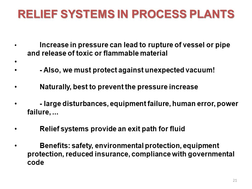RELIEF SYSTEMS IN PROCESS PLANTS
