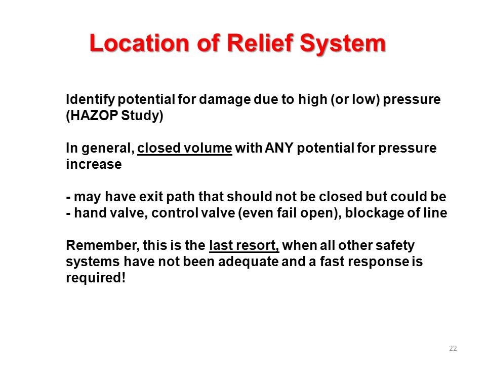Location of Relief System
